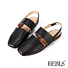 HERLS 舒服氣息 全真皮橫帶鏤空小方頭涼鞋-黑色