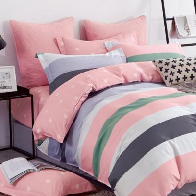 戀家小舖 / 單人床包枕套組 艾薇兒 100%精梳純棉