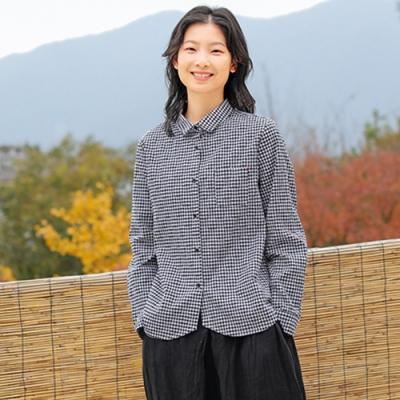 日本進口料肌理感織棉格子襯衫-設計所在