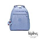 Kipling 溫柔粉藍多袋實用後背包-MICAH