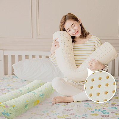 米夢家居-夢想家園系列-馬來西亞進口純天然長筒乳膠枕-附純棉布套-青春綠