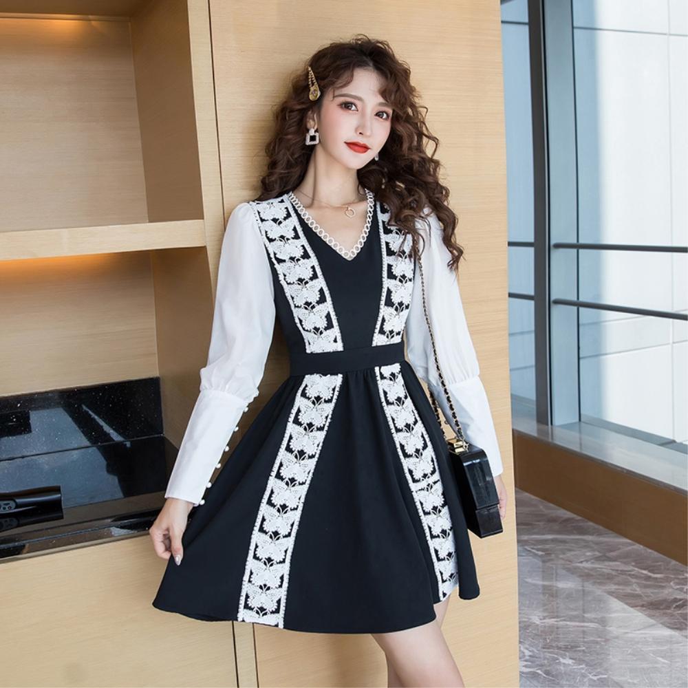 DABI 韓國風收腰顯瘦氣質蝴蝶結拼接蕾絲長袖洋裝