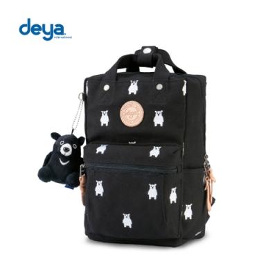 deya 熊森林系刺繡帆布小後背包-黑