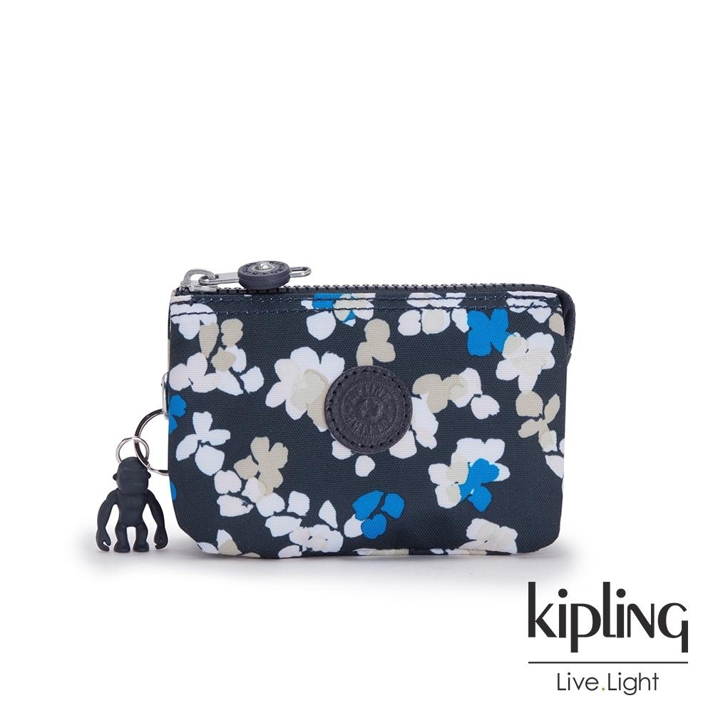 Kipling 清新手繪碎花三夾層配件包-CREATIVITY S
