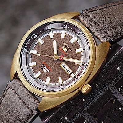 SEIKO精工 5號24石盾牌限量機械手錶(SRPB74J1)-咖啡色/44mm