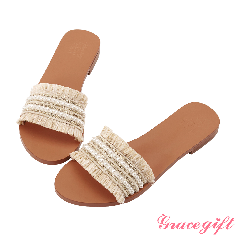 Grace gift X Tammy-聯名異材質編織寬版涼拖鞋 米白