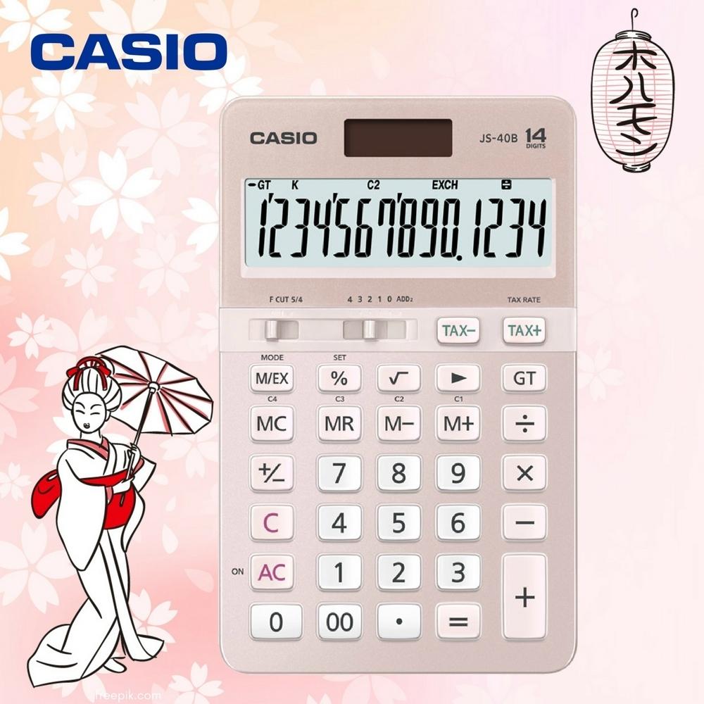 CASIO卡西歐-14位數雙電源頂級商用計算機/櫻花限定版(JS-40B-PK)