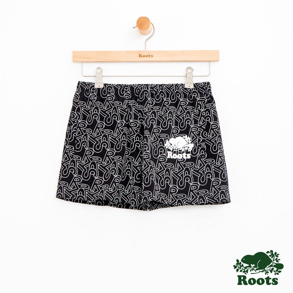 女裝Roots 滿版3D LOGO休閒短褲-黑