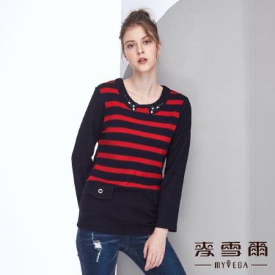 【麥雪爾】橫條異材質拼接布料長版上衣