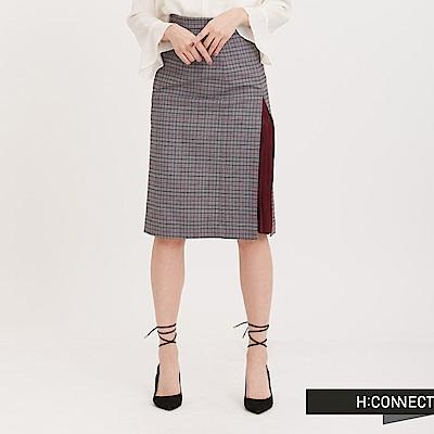 H:CONNECT 韓國品牌 女裝 - 百褶拼接格紋裙 - 黑