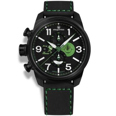 elegantsis 聖誕特別限定款 義大利真牛皮錶帶-黑綠色/45.5mm