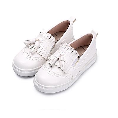 BuyGlasses 流蘇感英倫風童款懶人鞋-白