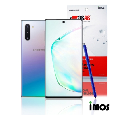 iMos 3H3SAS Samsung Note10+(正面)超抗非滿版潑水疏油效果保護貼