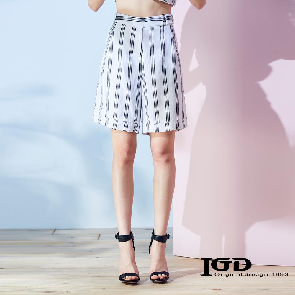 IGD英格麗 粗條紋綁帶反摺五分褲-白色