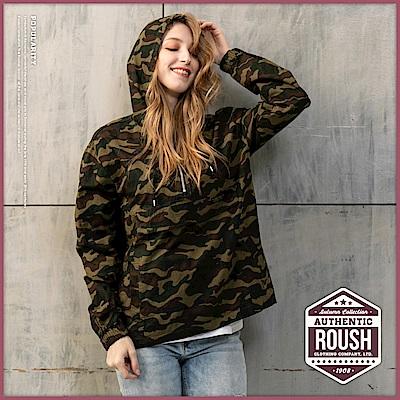 Roush 女生over size高領拉鍊設計斜紋布迷彩帽T