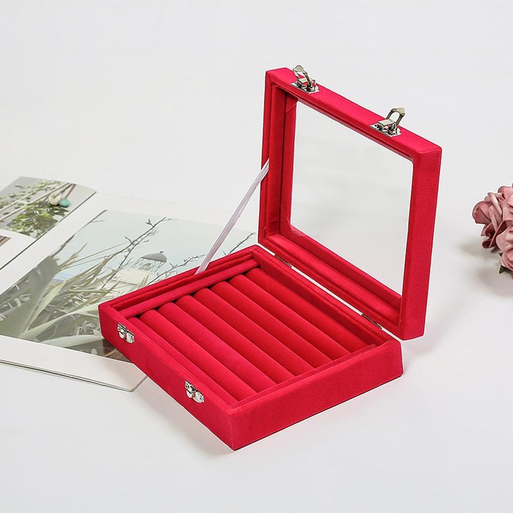 梨花HaNA 絲絨透明蓋橫條好收藏戒指盒收納珠寶盒
