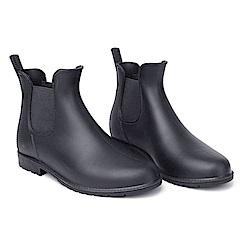 KEITH-WILL時尚鞋館 簡約厚底雨靴防水二用雨鞋-黑色