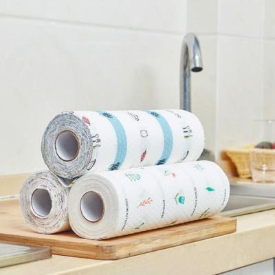 日系水彩圖案 乾濕兩用 家用廚房懶人抹布/百潔布/吸水魔巾 (2捲1組)