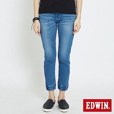 EDWIN 迦績JERSEYS棉感 束口AB牛仔褲-女-石洗藍