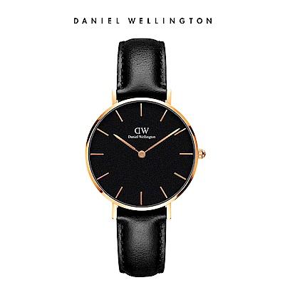 DW 手錶 官方旗艦店 32mm玫瑰金框 Classic Petite 爵士黑真皮皮革錶