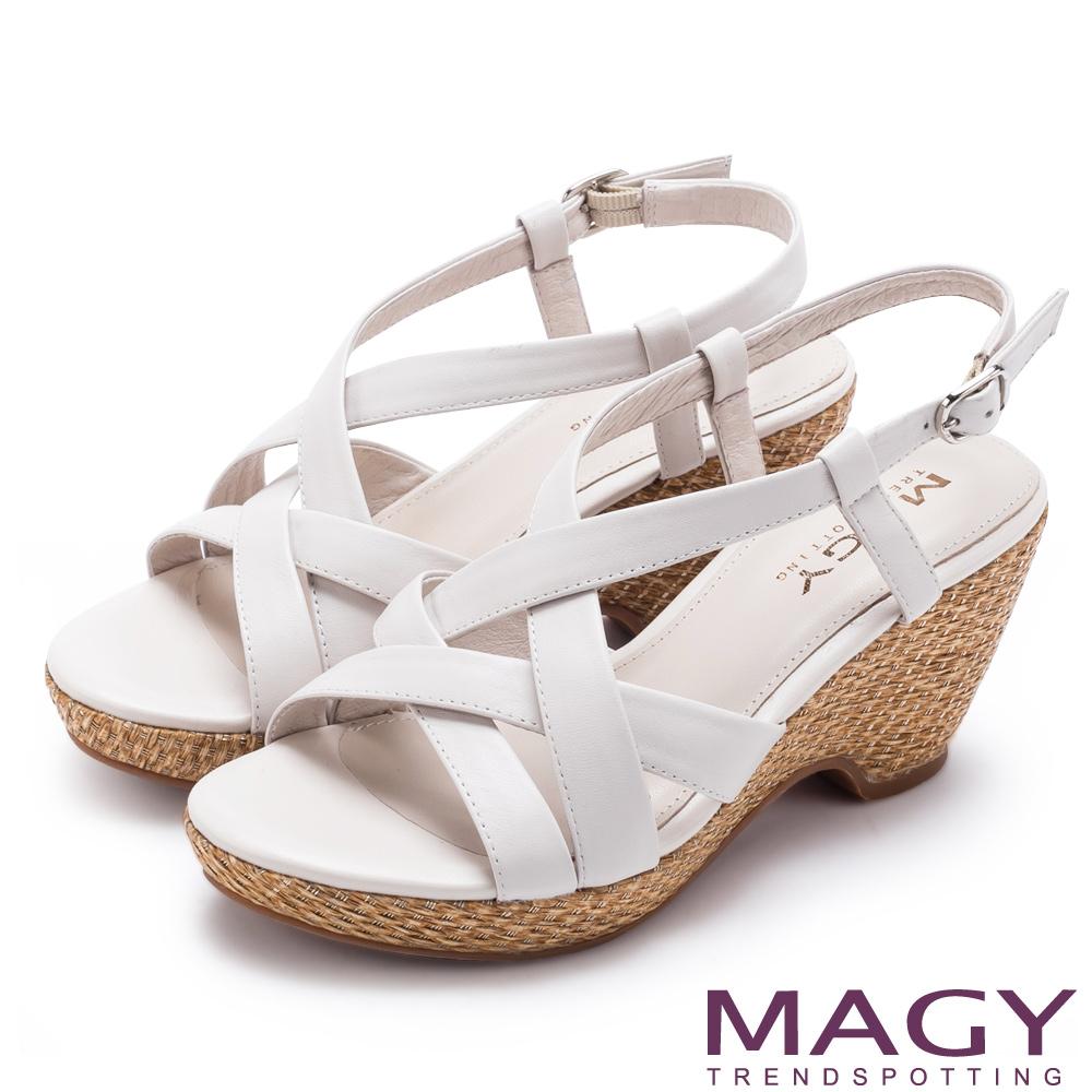 MAGY 異國風情 交錯編織麻邊楔型涼鞋-白色
