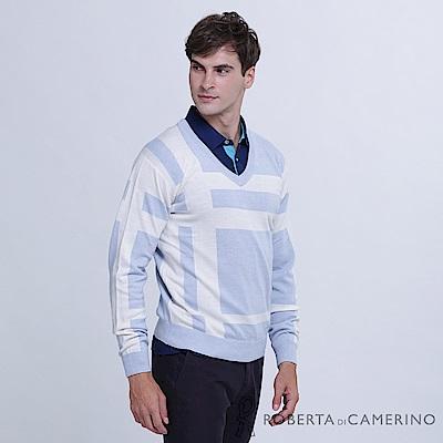 ROBERTA諾貝達 台灣製 舒適保暖 純美麗諾羊毛衣  淺藍