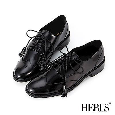 HERLS 帥氣英倫 全真皮流蘇綁帶鏡面牛津鞋-黑色