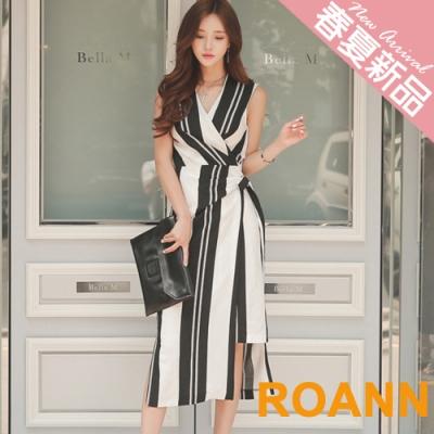 V領不規則條紋綁帶無袖洋裝 (黑色)-ROANN