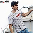 BigTrain翻轉達磨滿版框線短袖T-男-白色