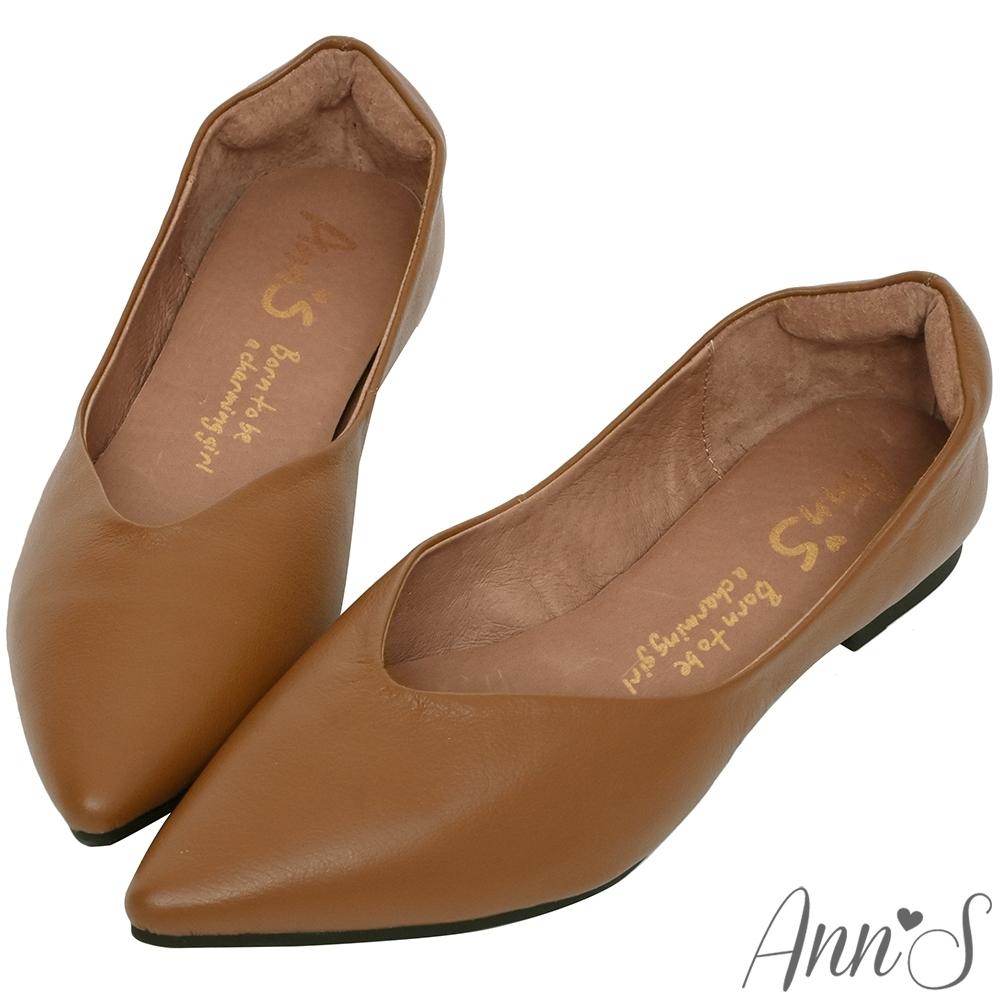 Ann'S無調味-素面純色V口顯瘦尖頭超軟真皮平底鞋-咖(版型偏小)