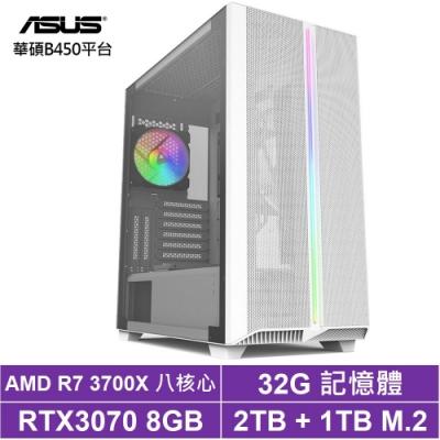 華碩B450平台[玄黃神將]R7八核RTX3070獨顯電玩機