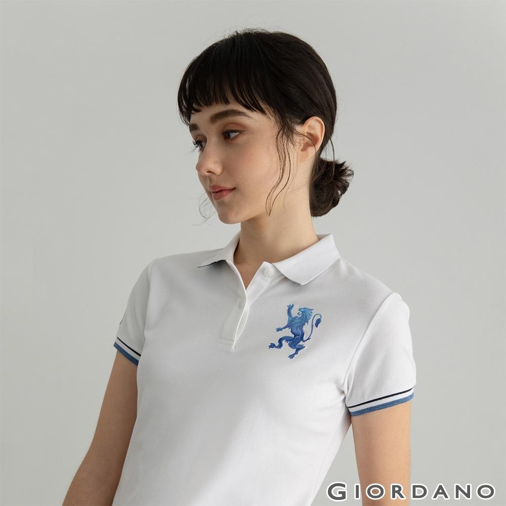 GIORDANO  女裝勝利獅王刺繡POLO衫 - 27 標誌白