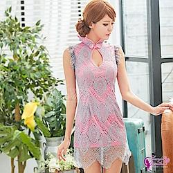 Sexy Cynthia角色扮演 質感典雅粉灰旗袍角色扮演服-粉F