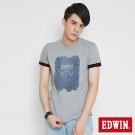 EDWIN LOGO牛仔印花短袖T恤-男-麻灰