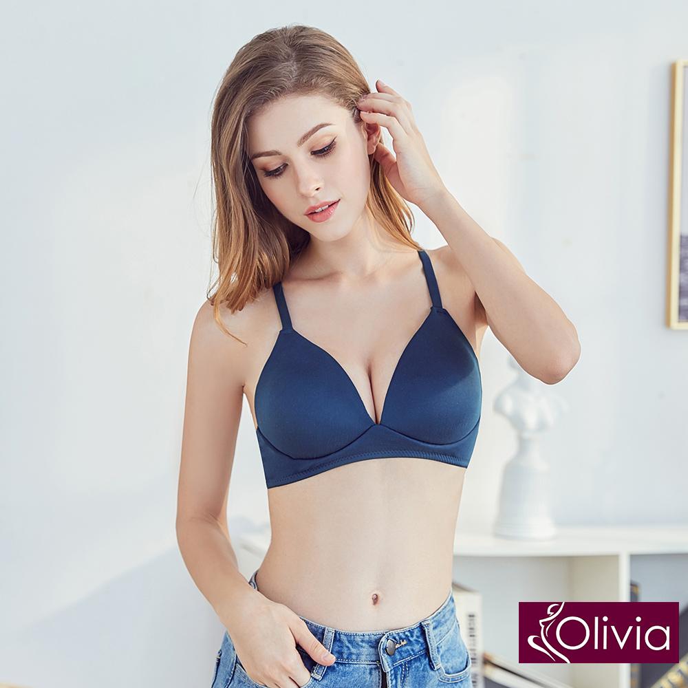 Olivia 無鋼圈3D輕巧美背三角杯內衣-藍色