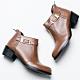 River&Moon短靴-斜口方扣後拉鍊粗跟短靴 咖棕 product thumbnail 1