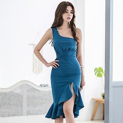DABI 韓系性感單肩荷葉邊包臀顯瘦禮服裙無袖洋裝