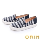 ORIN 造型五金條紋布面平底 女 休閒鞋 深藍 product thumbnail 1
