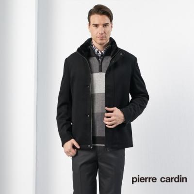 Pierre Cardin皮爾卡登 男裝 進口素材羊絨毛領夾克外套-黑色(5135736-99)