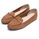 DIANA光澤金屬釦真皮尖頭平底鞋-漫步雲端超厚切焦糖美人款-棕 product thumbnail 1