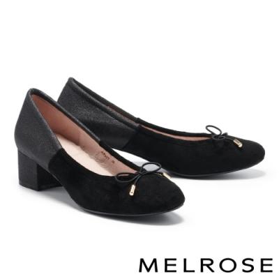 高跟鞋 MELROSE 復刻時尚蝴蝶結造型拼接高跟鞋-黑