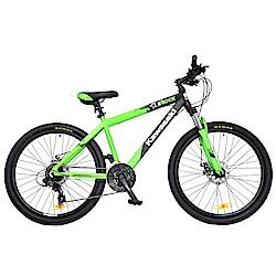 【Kawasaki】26吋24速SHIMANO雙碟煞鋁合金避震登山車-綠