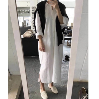 2F韓衣-簡約素色舒適寬鬆排扣造型洋裝-3色(S-L)