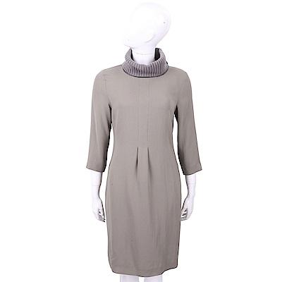 FABIANA FILIPPI 美麗諾羊毛領灰色極簡洋裝