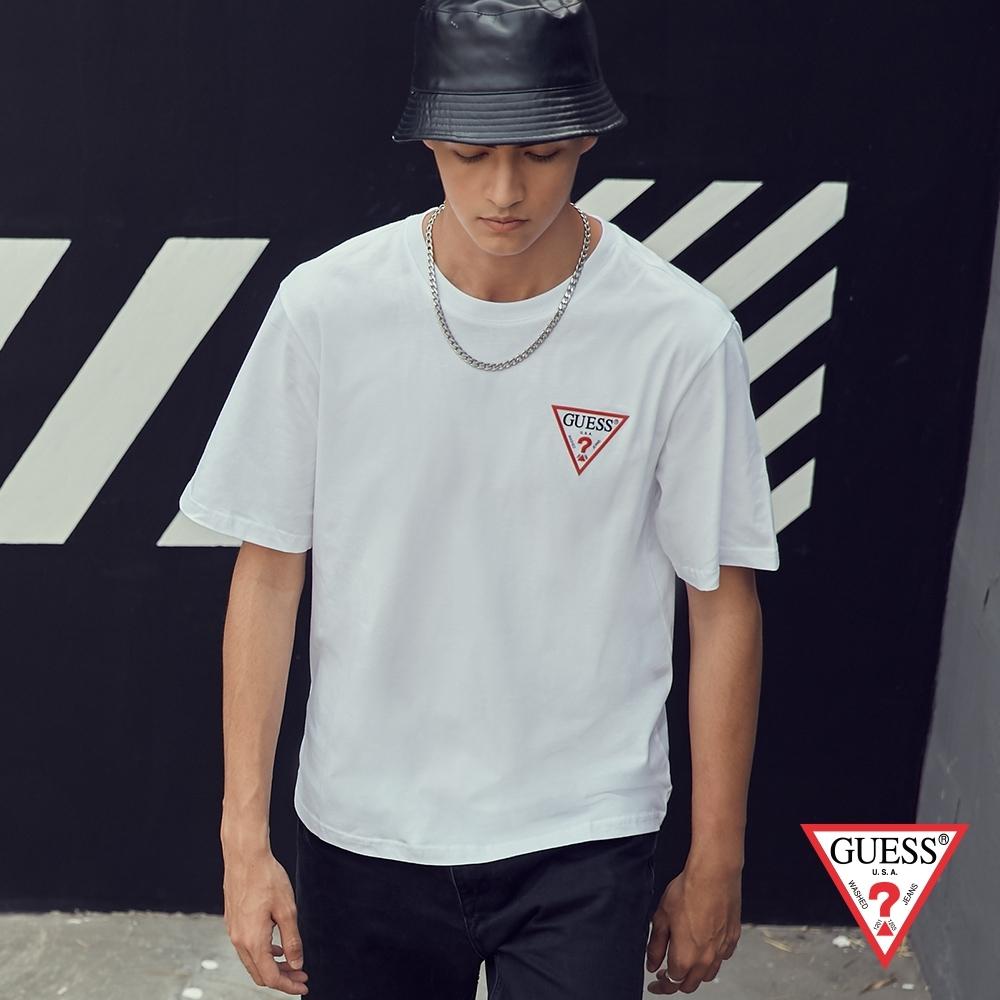 GUESS-男裝-素色經典倒三角小LOGO短T,T恤-白 原價1290