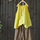 苧麻無袖內搭背心寬鬆褶皺外穿套頭衫棉質上衣-設計所在