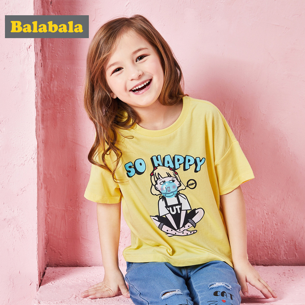 Balabala巴拉巴拉-泡泡女孩圖案短袖T恤-女(3色)