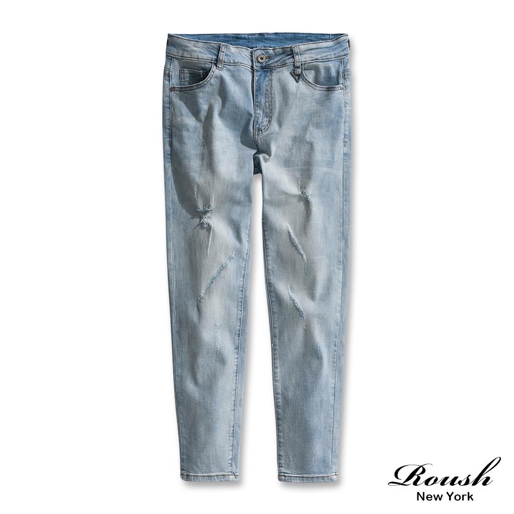 Roush 刀割破損水洗淺色牛仔褲