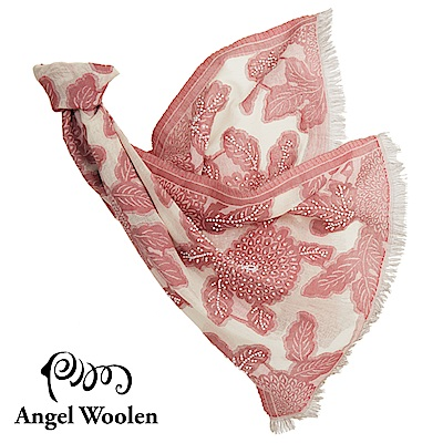 【Angel Woolen】采逸印度手工串珠羊毛披肩-粉