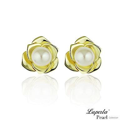 大東山珠寶 純銀天然珍珠耳環 金色玫瑰